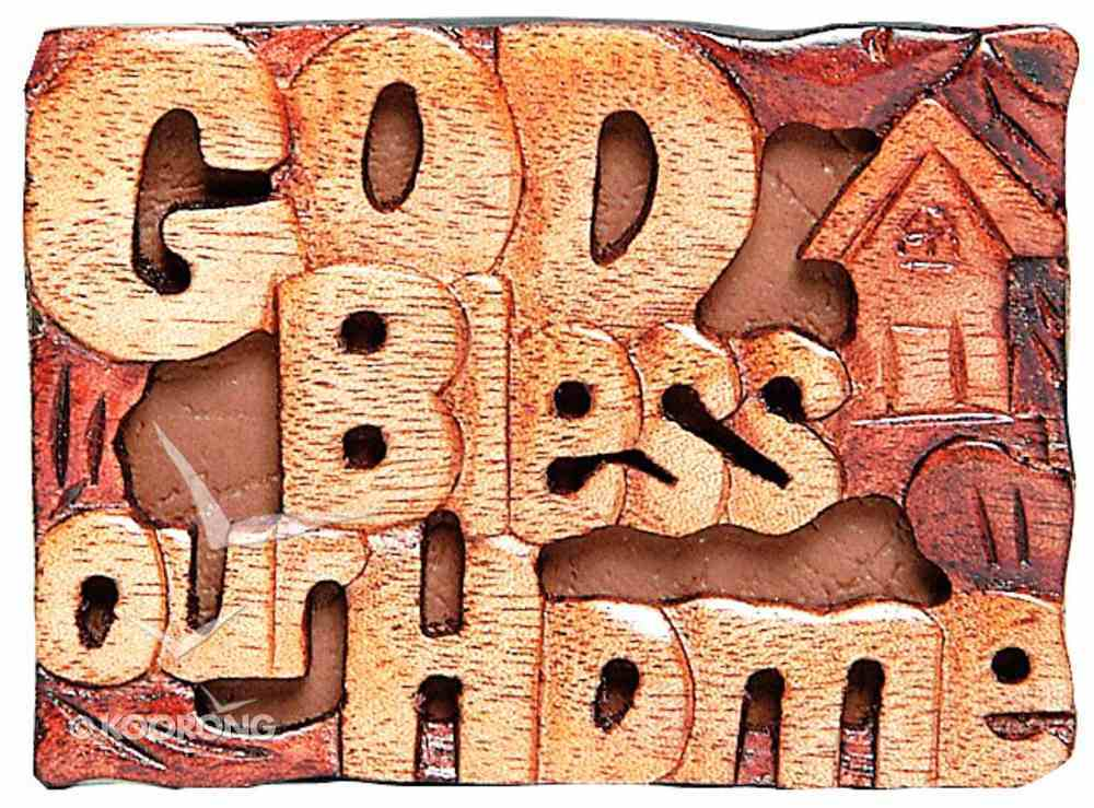 Magnet: Wood God Bless Our Home Novelty