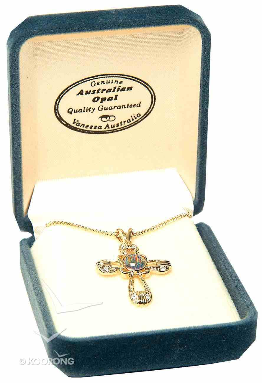 Pendant: Opal/Gold Cross, 22 Carat Gold Plated Stirling Silver Jewellery