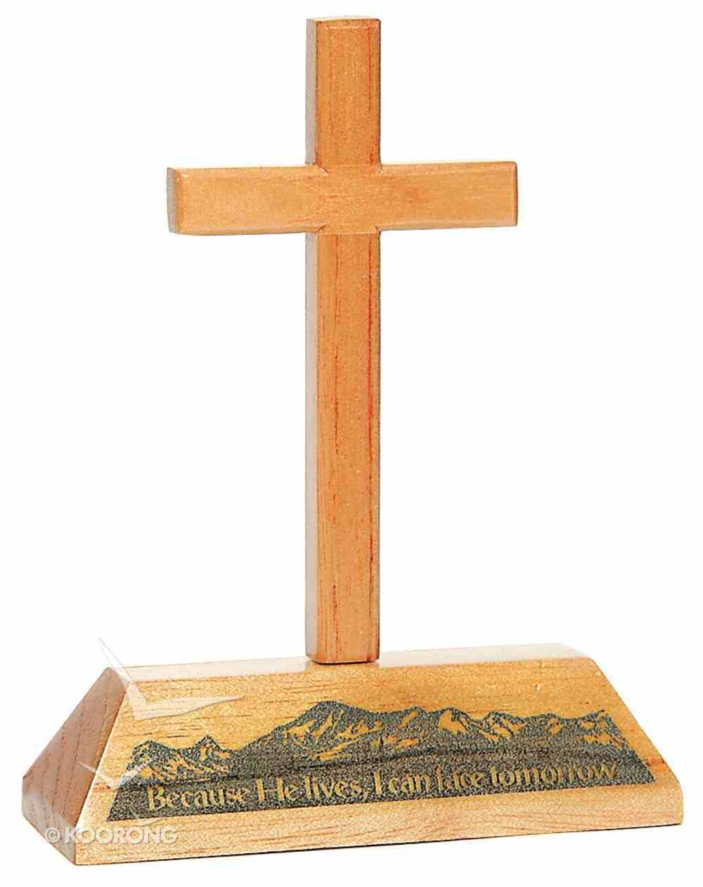 Cross on Stand: Because He Lives, I Can Have Tomorrow Homeware