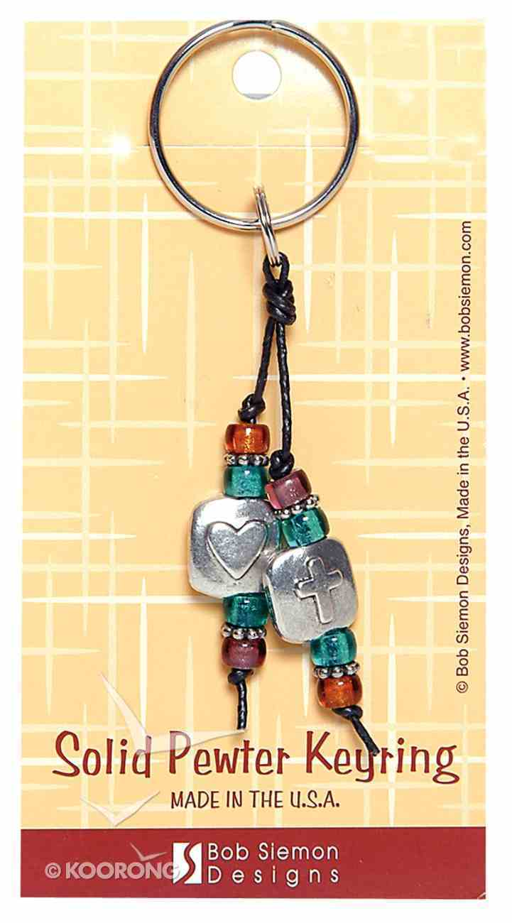 Keyring: Cross Heart (Lead-free Pewter) Jewellery