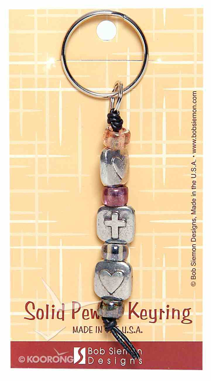 Keyring: Two Hearts One Cross (Lead-free Pewter) Jewellery
