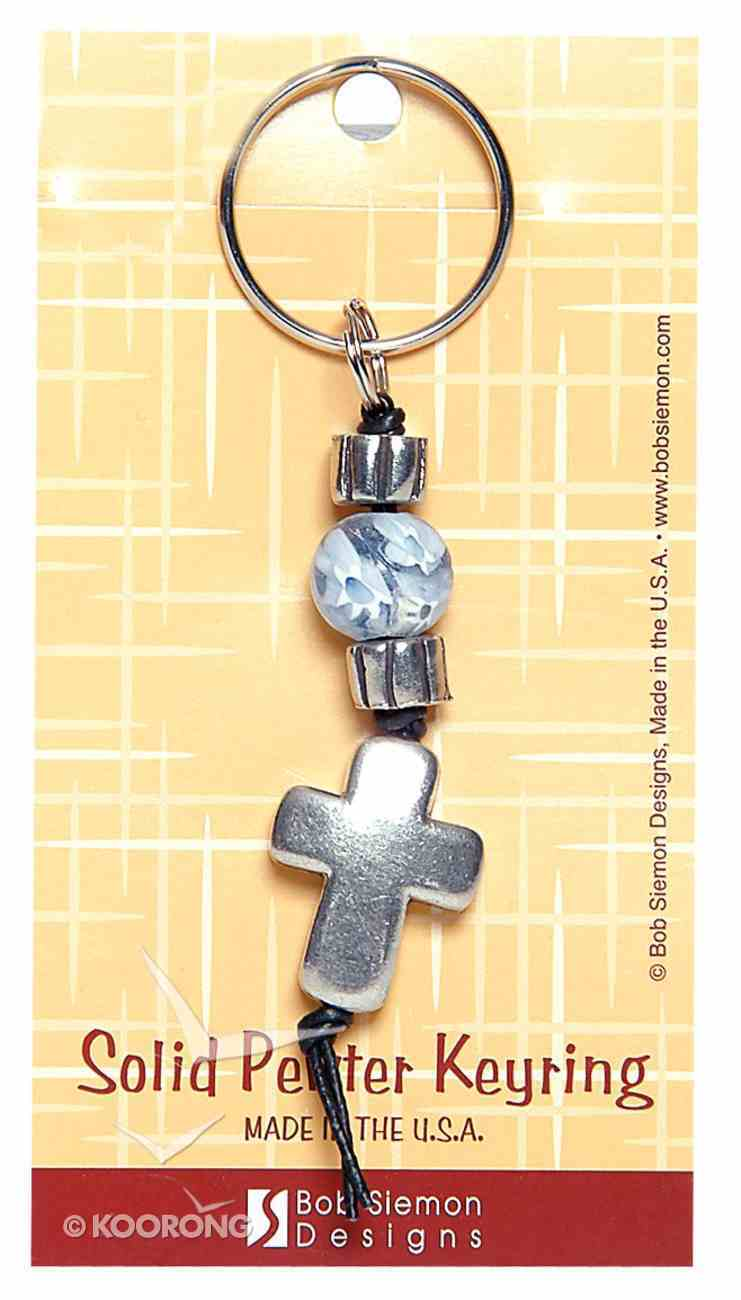 Keyring: Cross and Blue Marble (Lead-free Pewter) Jewellery