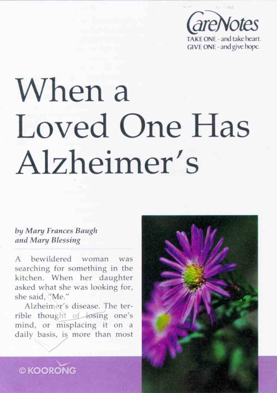 Care Notes: When a Loved One Has Alzheimers Paperback