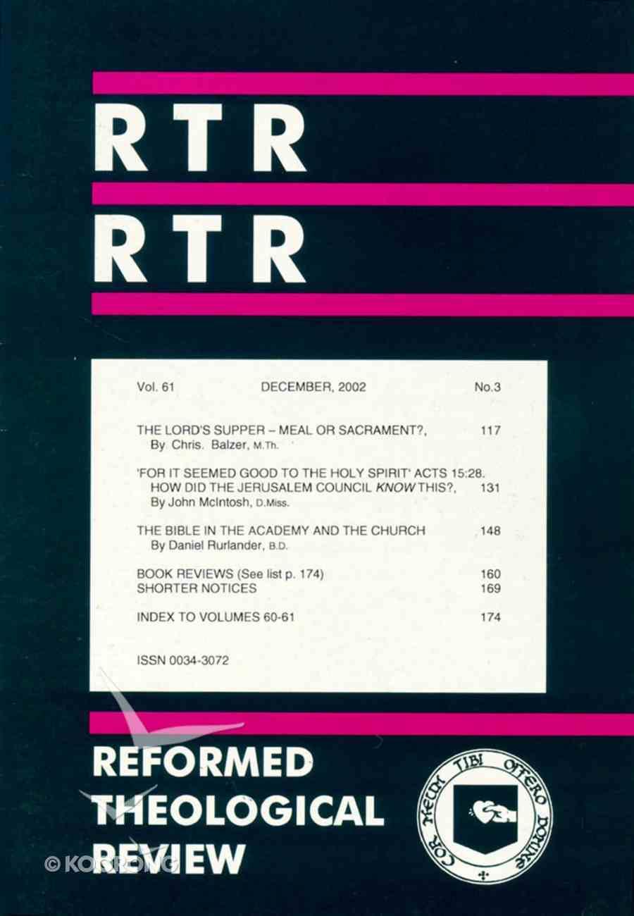 Reformed Theological Review December 2002 Paperback