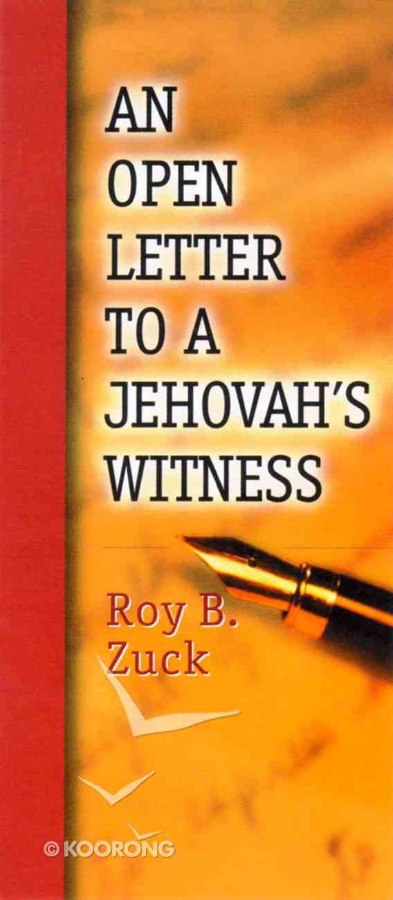 An Open Letter to a Jehovah's Witness Paperback