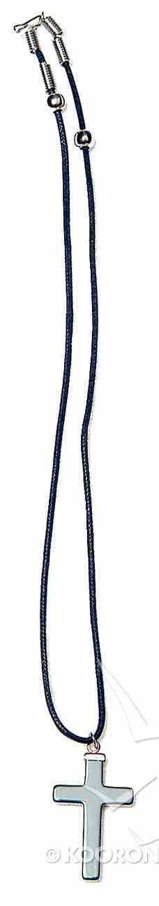 Pendant: Haematite Cross on Cord Jewellery