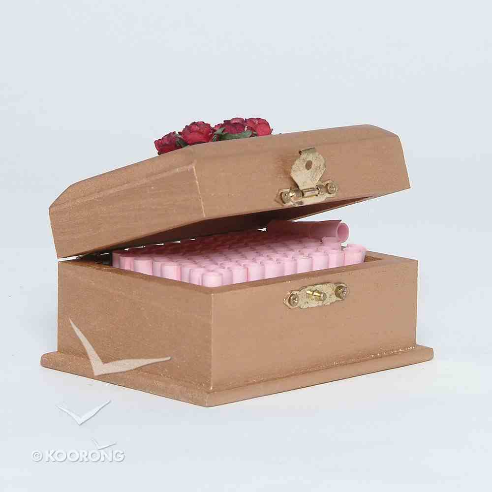 Wooden Promise Box With Scrolls/Cherry Red Flowers General Gift