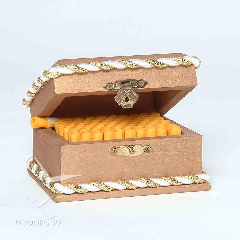 Wooden Promise Box With Scrolls/Gold Rope General Gift