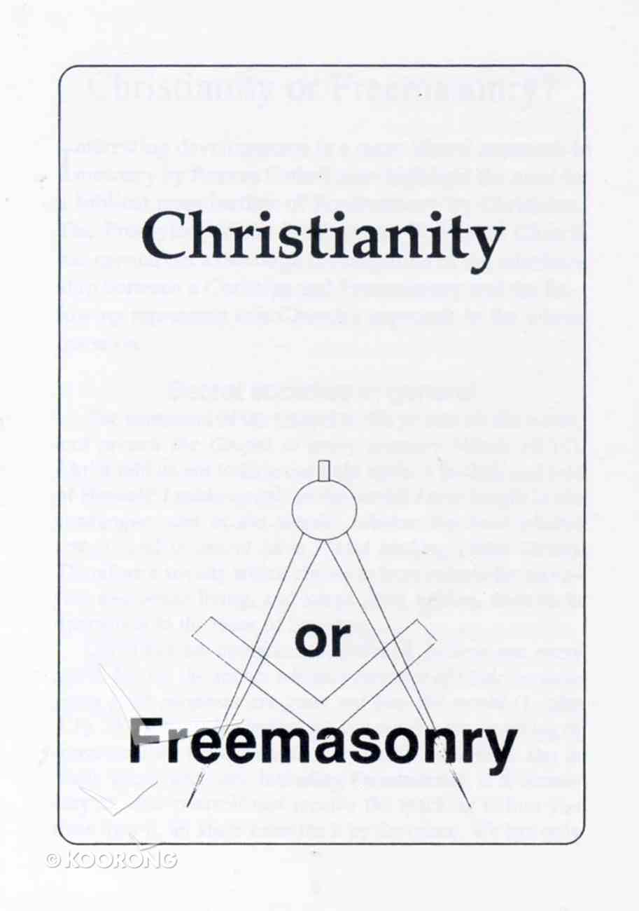 Christianity Or Freemasonry Paperback