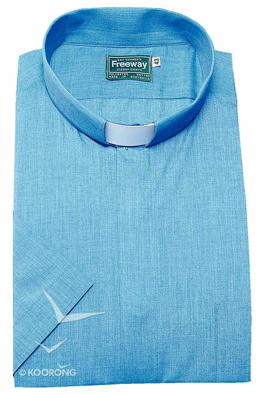 Tonsular Freeway Clergy Shirt Mens Denim Blue 43Cm Short Sleeve Soft Goods