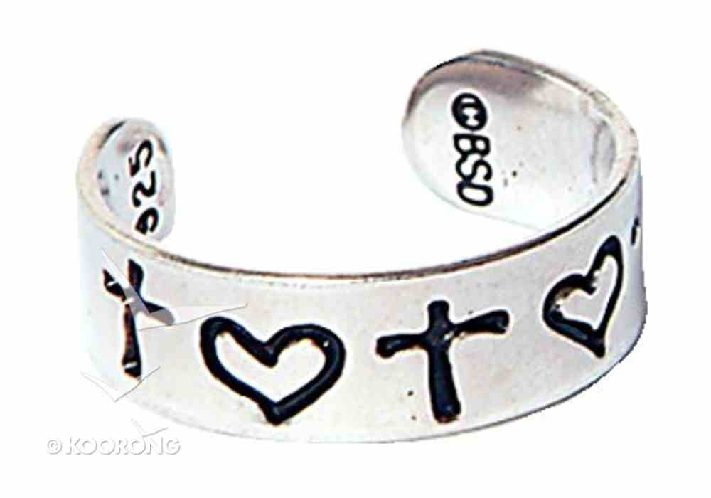 Toe Ring: Cross and Heart Sterling Silver Jewellery