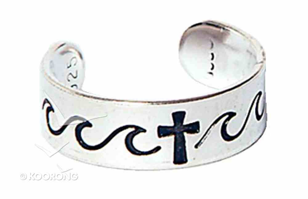 Toe Ring: Cross With Waves Sterling Silver Jewellery