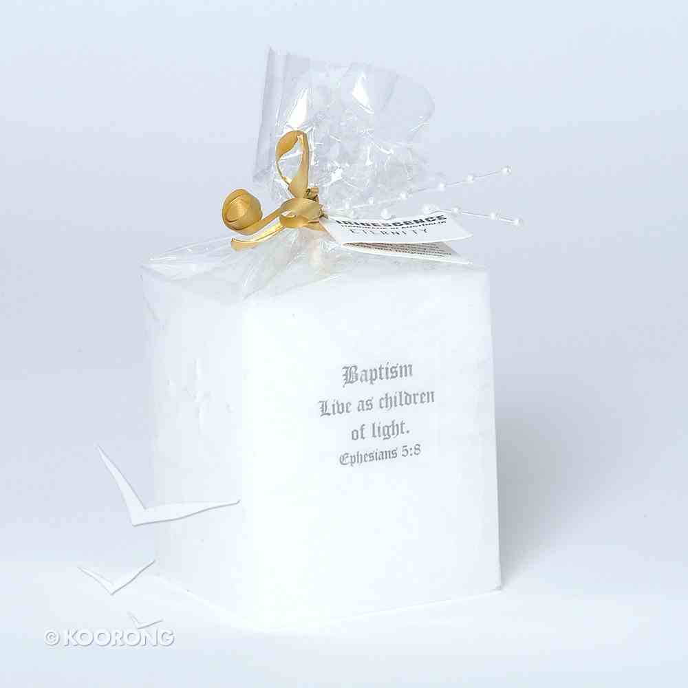 Candle: Baptism White Pearl Cross 7cm Square X 8cm Height Homeware