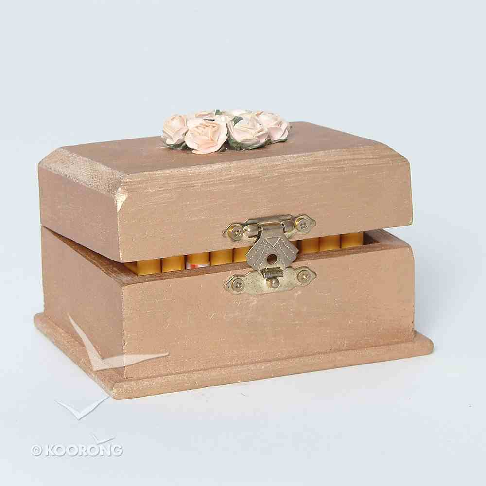 Wooden Promise Box With Scrolls/Cream Flowers General Gift