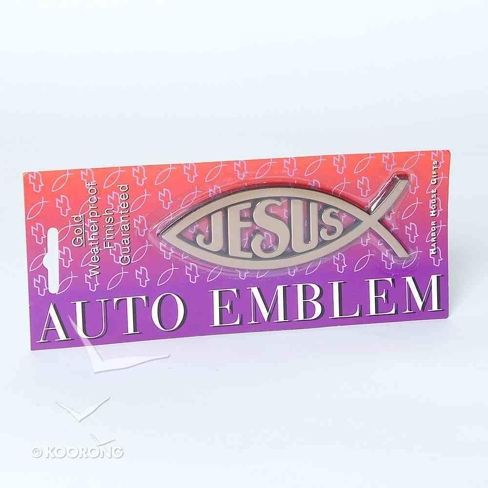 Auto Emblem Sticker: Gold Fish/Jesus Large Stickers