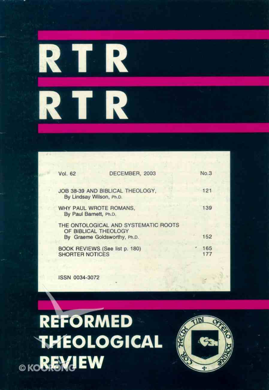 Reformed Theological Review December 2003 Booklet