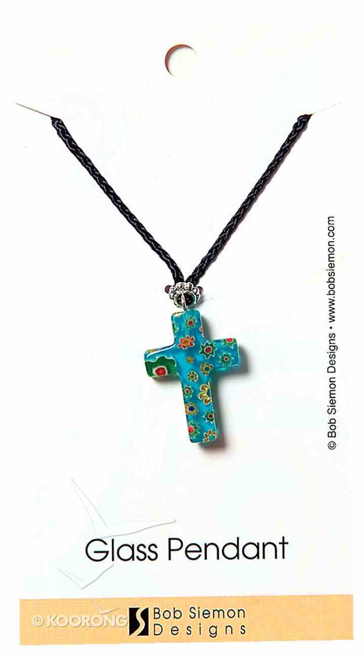 Murrine Glass Pendant: Blue Cross With Flowers Adjustable Braided Cotton Cord Jewellery