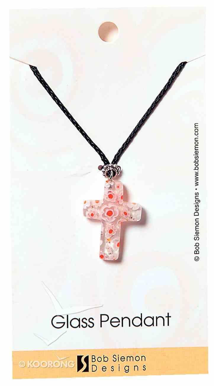 Murrine Glass Pendant: Clear Cross With Flowers Adjustable Braided Cotton Cord Jewellery
