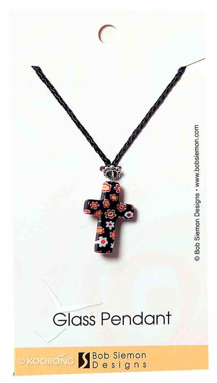 Murrine Glass Pendant: Black Cross With Flowers Adjustable Braided Cotton Cord Jewellery