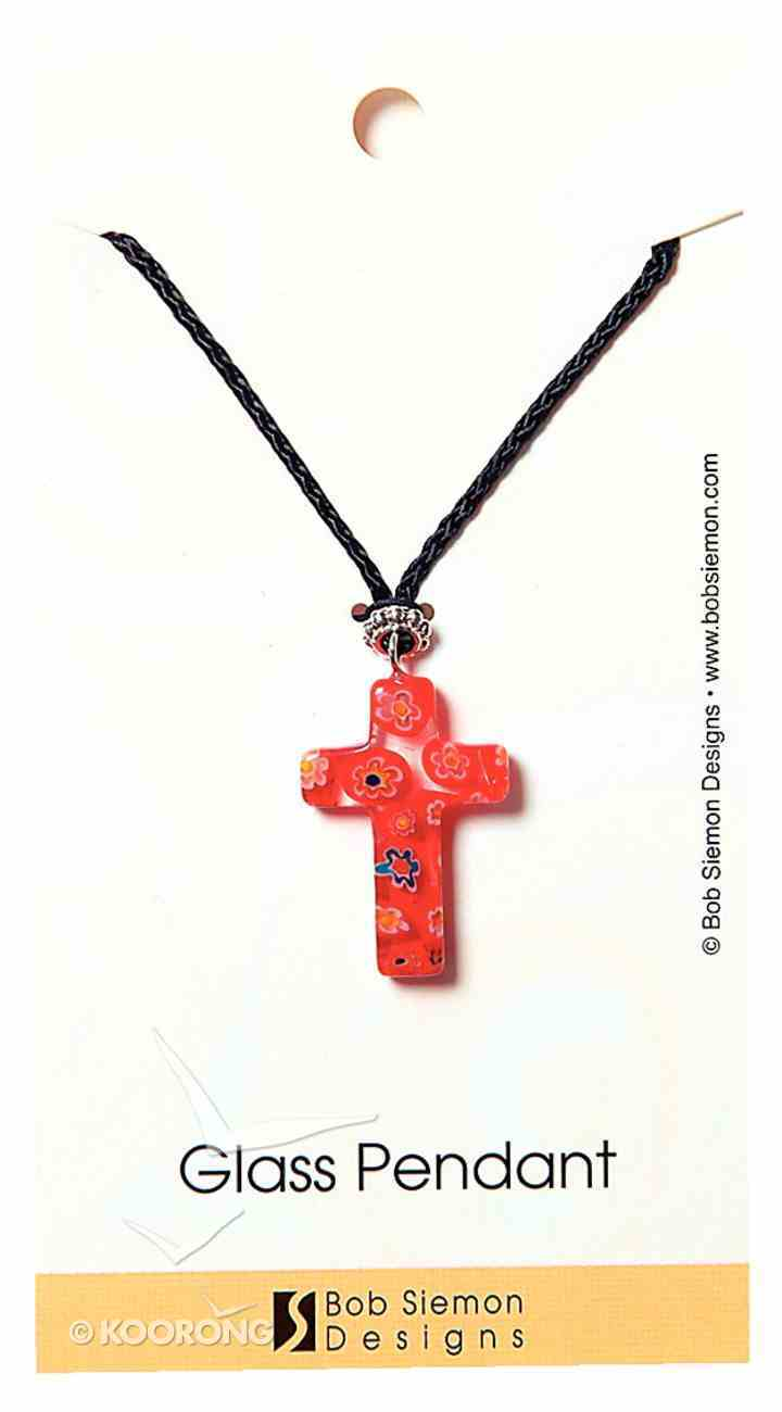 Murrine Glass Pendant: Red Cross With Flowers Adjustable Braided Cotton Cord Jewellery