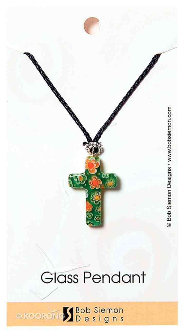 Murrine Glass Pendant: Green Cross With Flowers Adjustable Braided Cotton Cord Jewellery