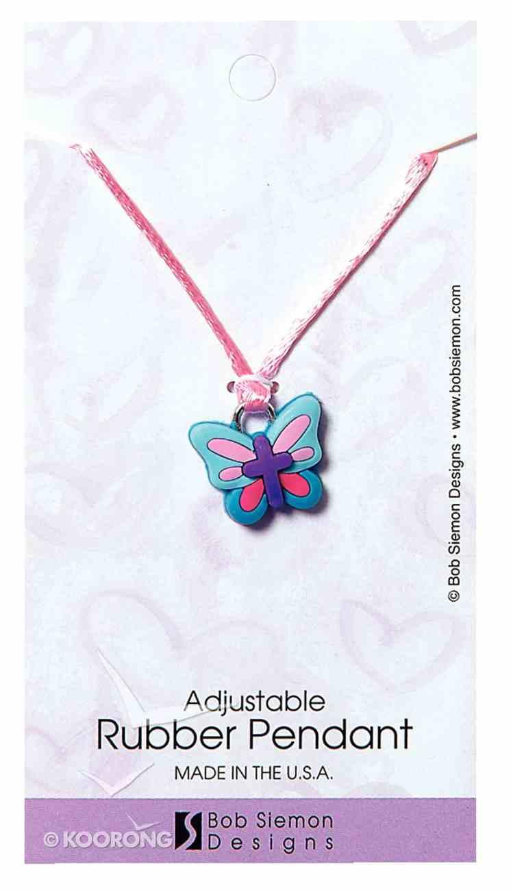Rubber Pendant: Butterfly 2 Corinthians 5:17 Adjustable Lace Cord Jewellery