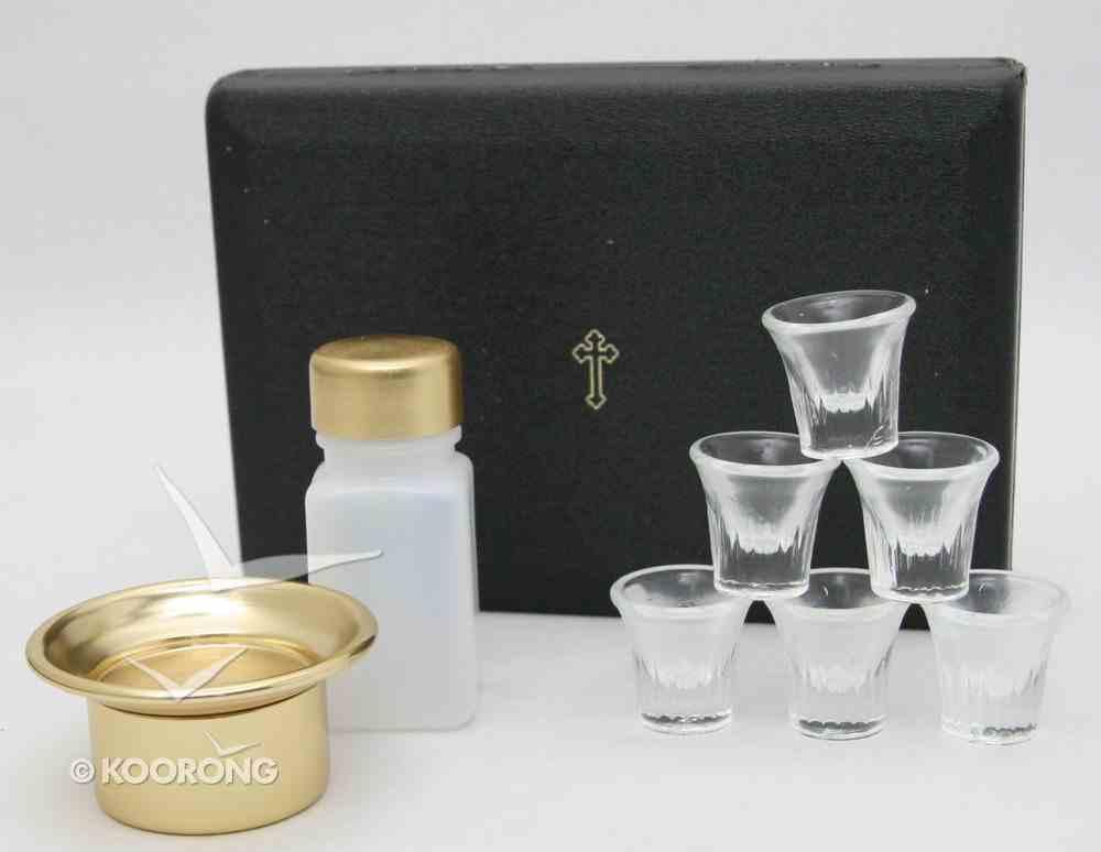 "Portable Communion Set: Last Supper Six Cups Brasstone Vinyl (Rw-29) (5 1/2"" X 7 5/8 X 1 3/4"") Church Supplies"