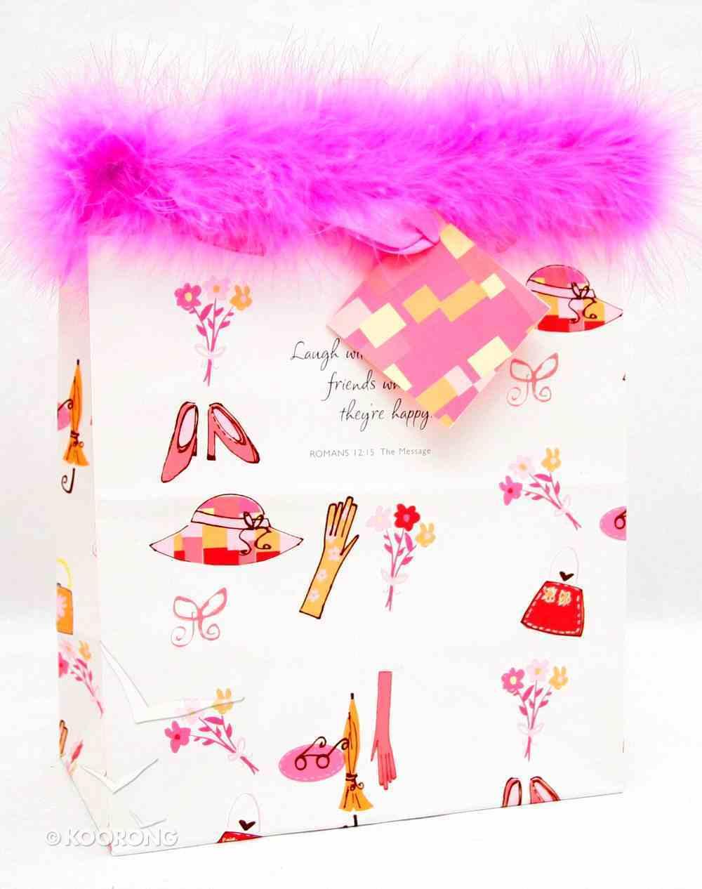 Gift Bag Medium: Pink Fluffy Romans 12:15 (Incl Tissue) Stationery