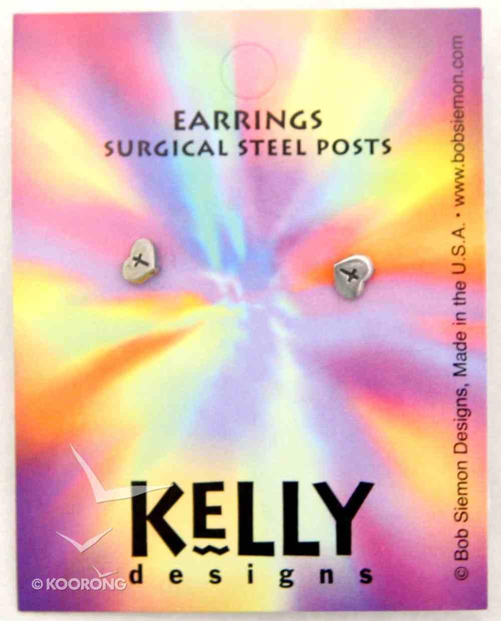 Earrings Kelly Design: Heart With Cross (Lead-free Pewter) Jewellery