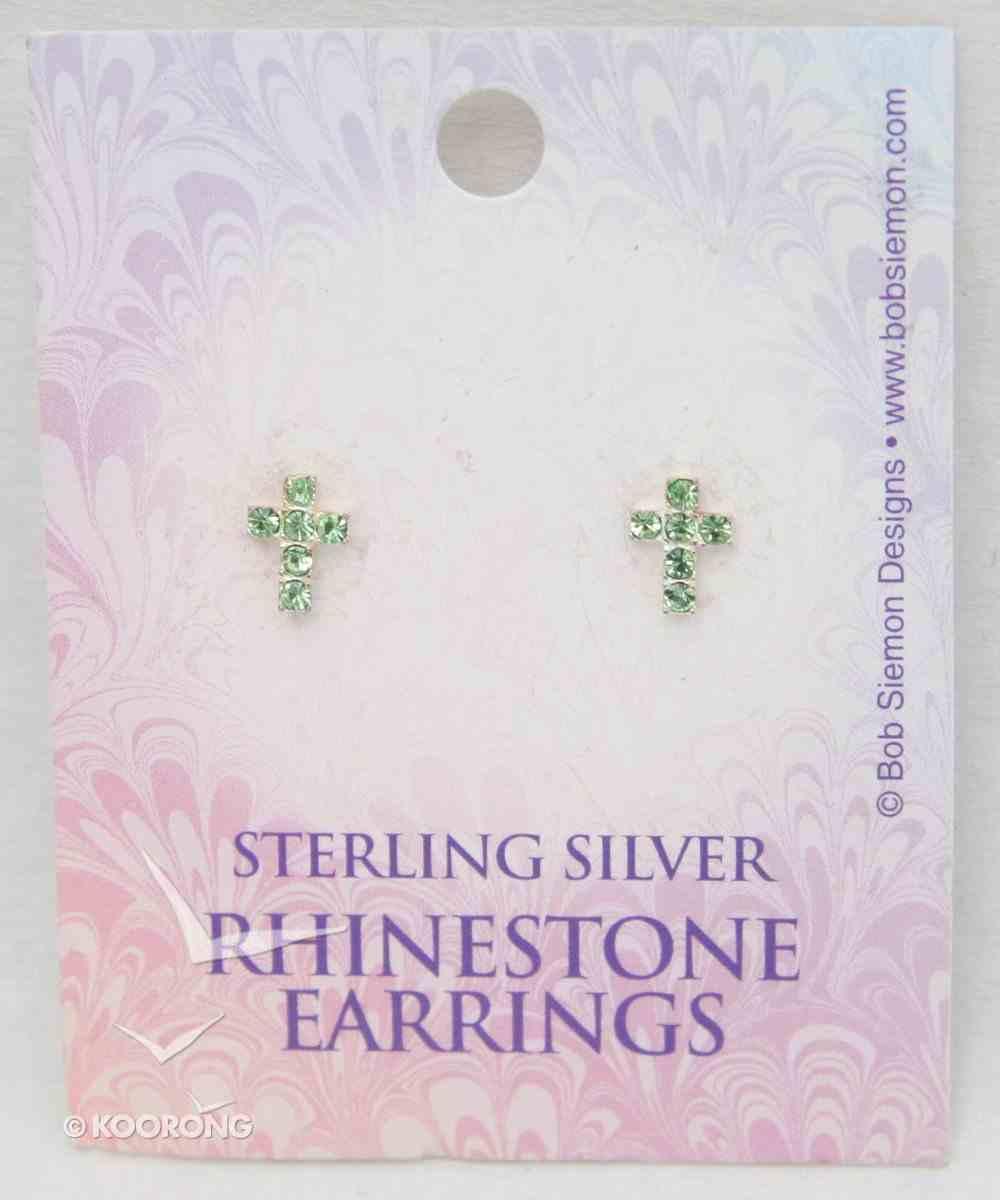 Earrings: Rhinestone Peridot Cross Jewellery