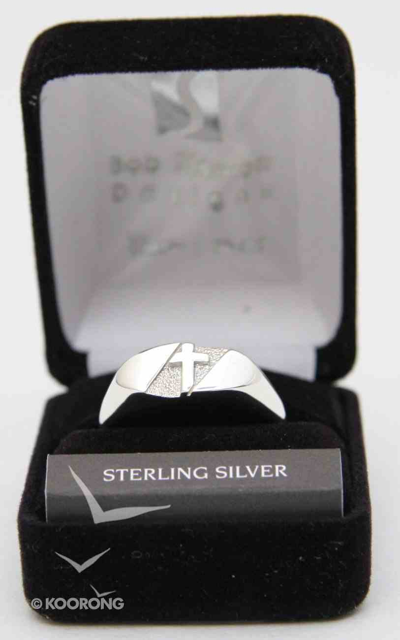 Ring: Mens Textured Cross Oval Sterling Siliver (Size 13) Jewellery