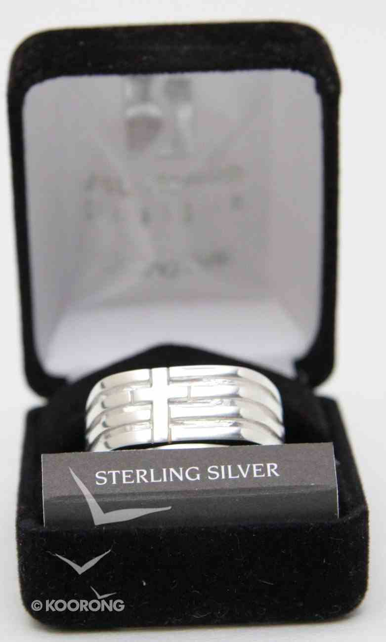 Ring: Mens Cross With Horizontal Lines Sterling Silver Jewellery