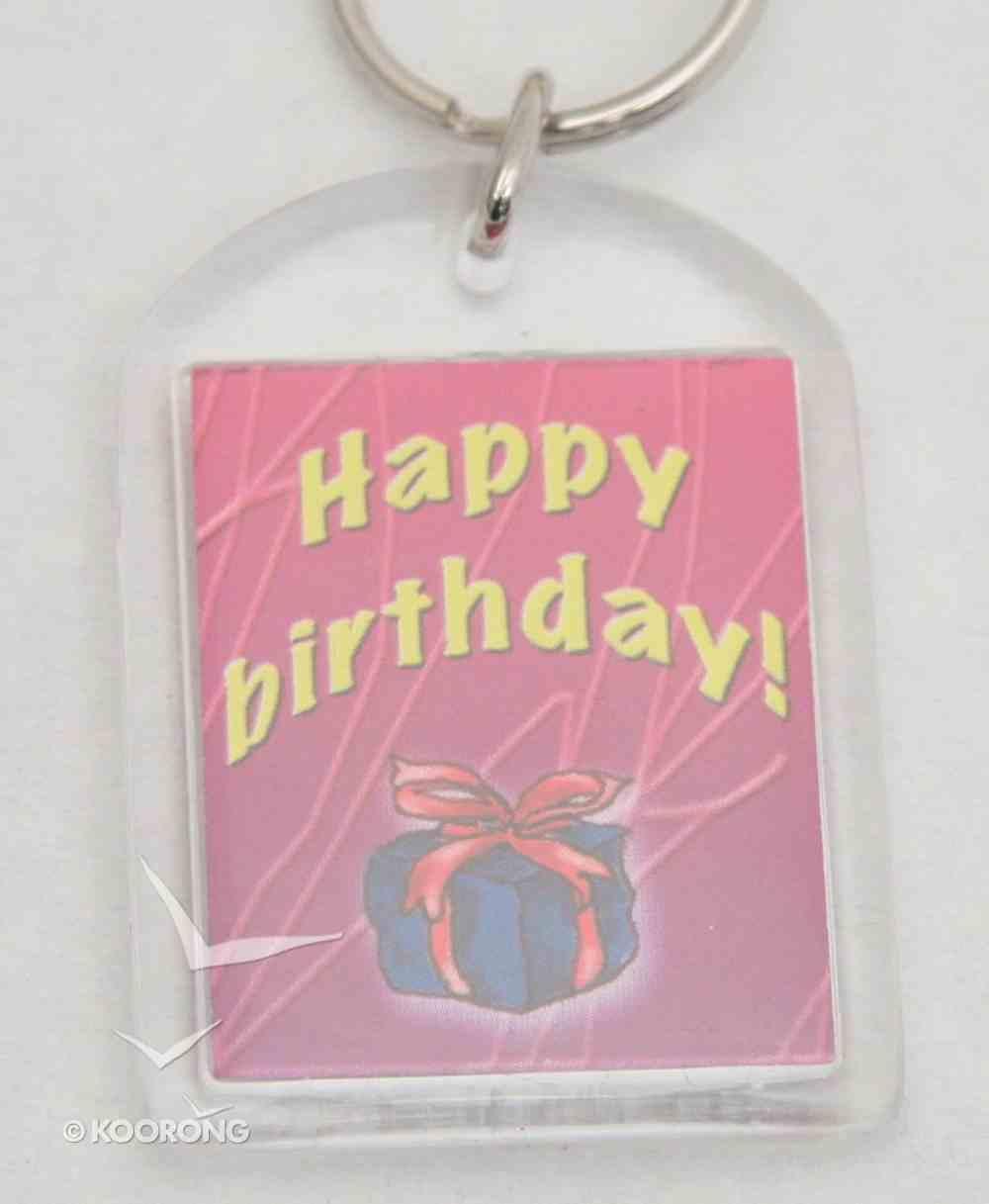 Plastic Keyring: Happy Birthday Novelty