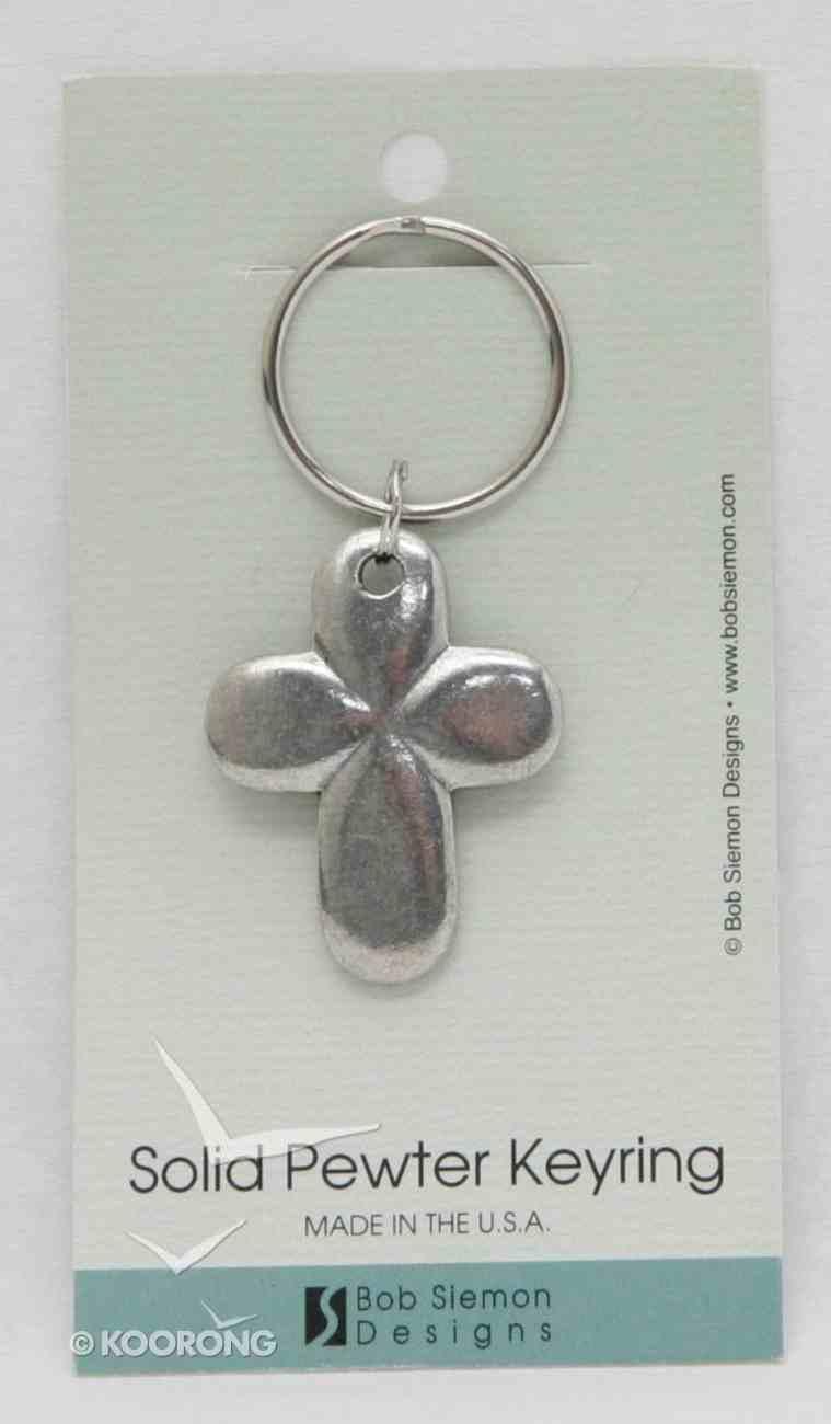 Keyring: Cross Puffy (Lead-free Pewter) Jewellery
