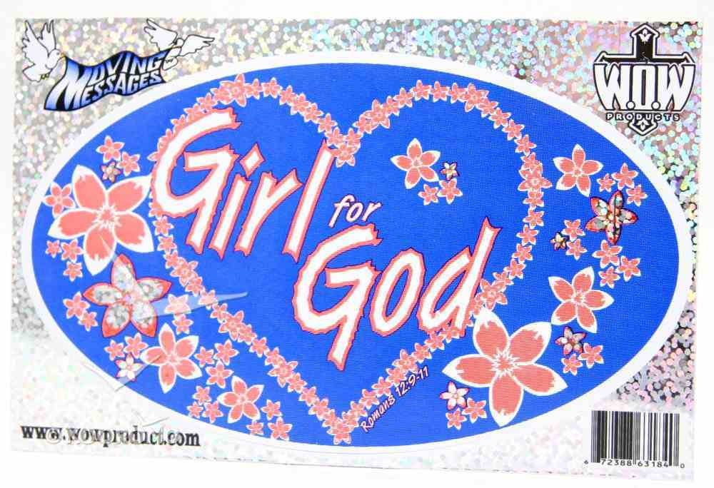 Oval Decals: Girl For God Stickers