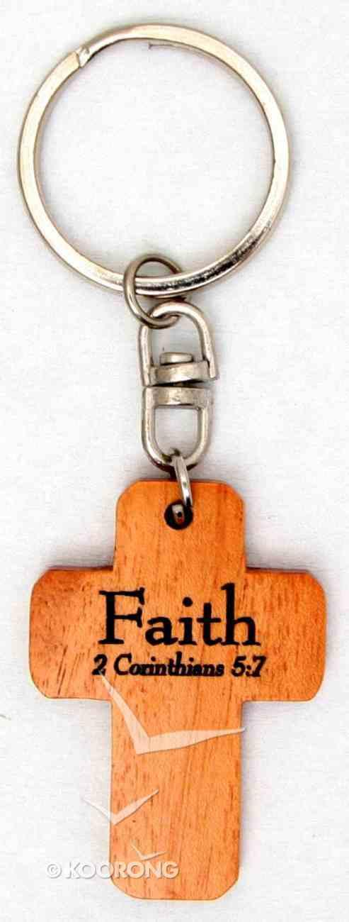 Wooden Cross Keyring: Faith 2 Corinthians 5:7 Novelty
