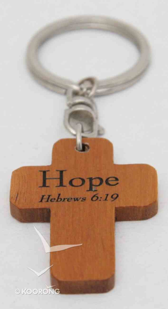 Wooden Cross Keyring: Hope Hebrews 6:19 Novelty