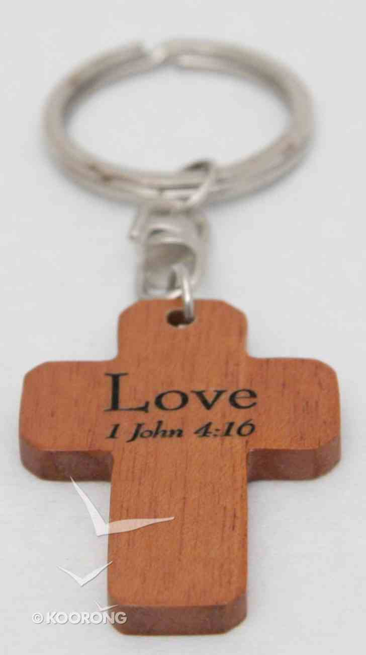 Wooden Cross Keyring: Love 1 Corinthians 13:4-8 Novelty