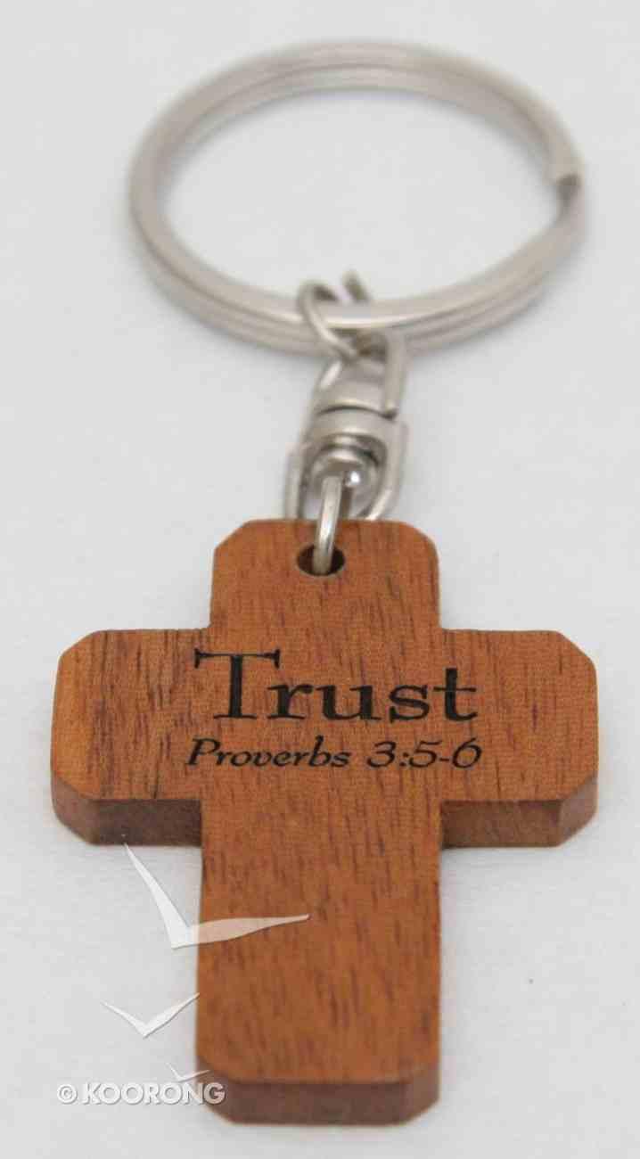 Cross Keyring: Trust, Proverbs 3:5-6 (Mahogany) Novelty