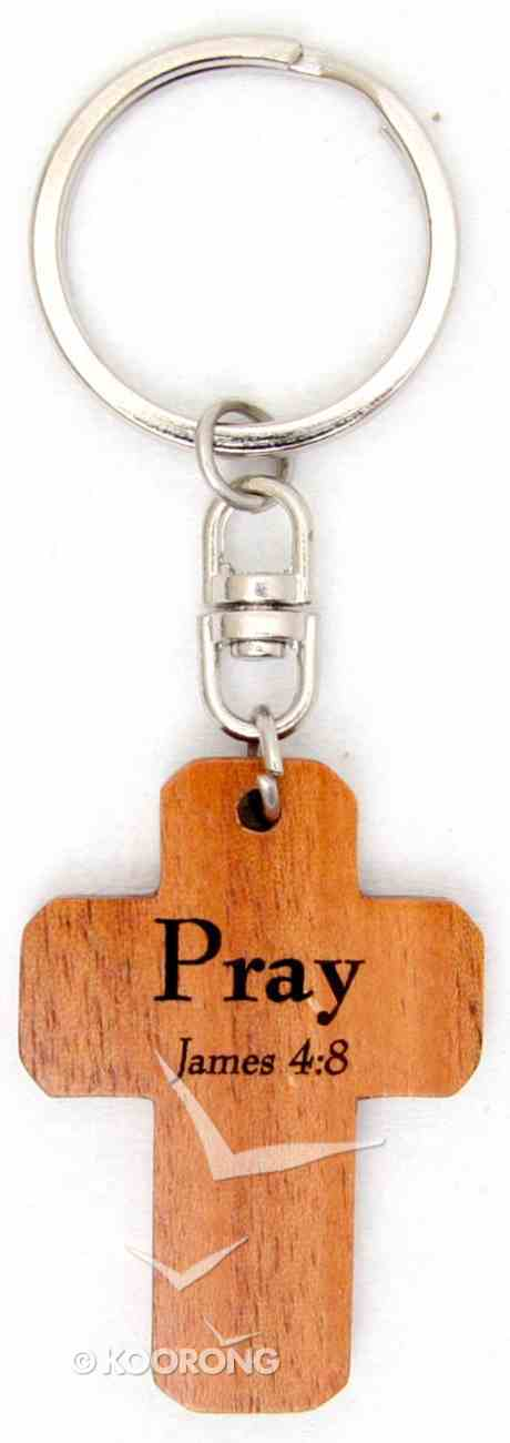 Wooden Cross Keyring: Pray James 4:8 Novelty