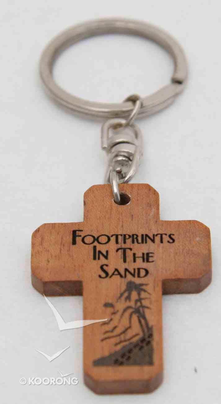 Wooden Cross Keyring: Footprints in the Sand Novelty