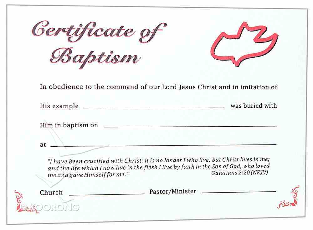 Certificate Adult Baptism: Red Dove Stationery