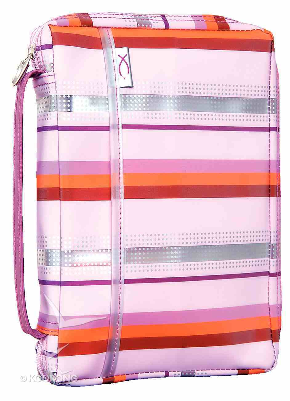 Bible Cover Pink Lavender Sassy Stripes - Large Bible Cover