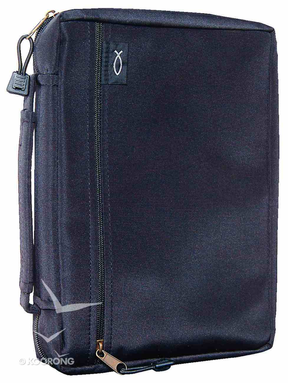 Bible Cover Micro-Fiber Black With Zipped Pocket Large Bible Cover