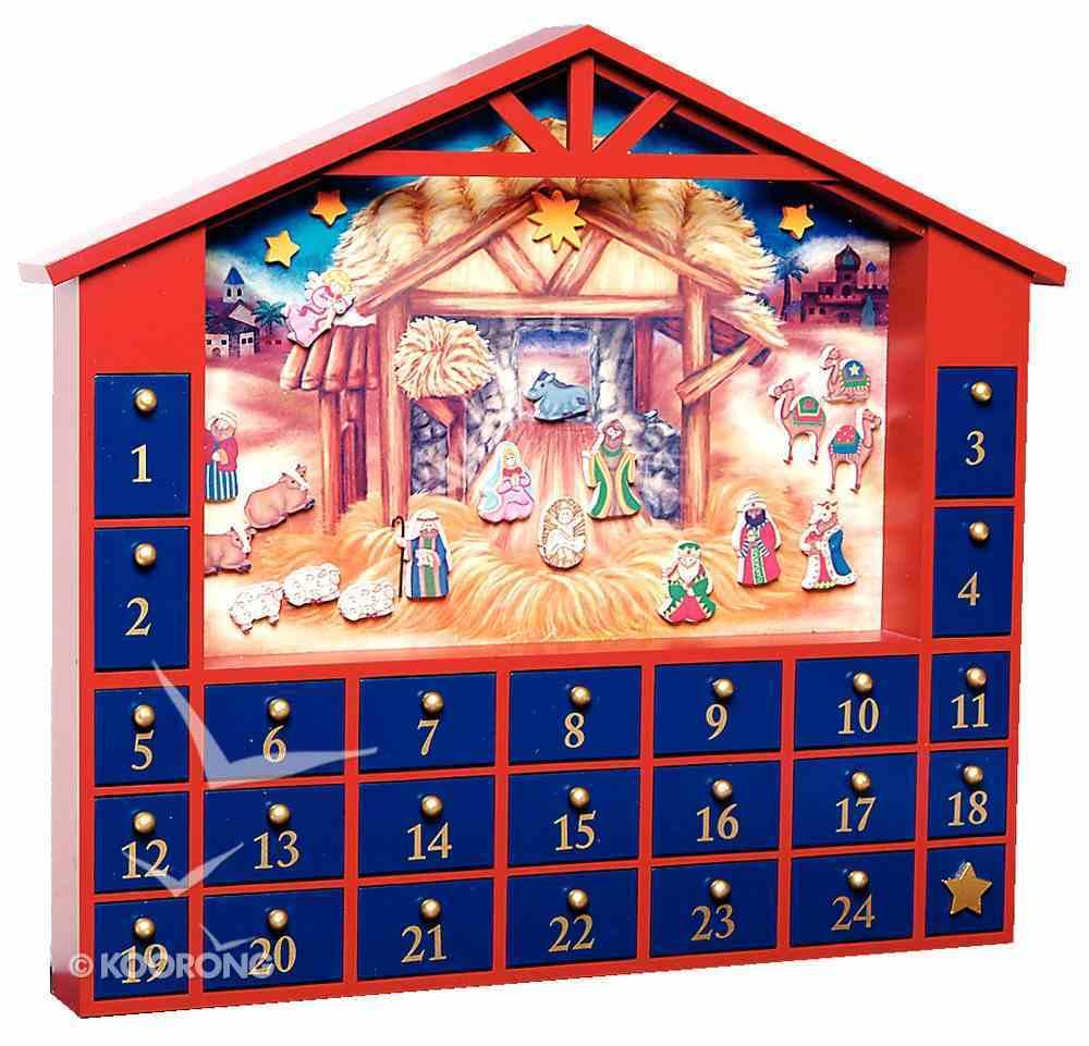 Interactive Wooden Advent Calendar: Magnetic Manger Scene Stable Shap General Gift