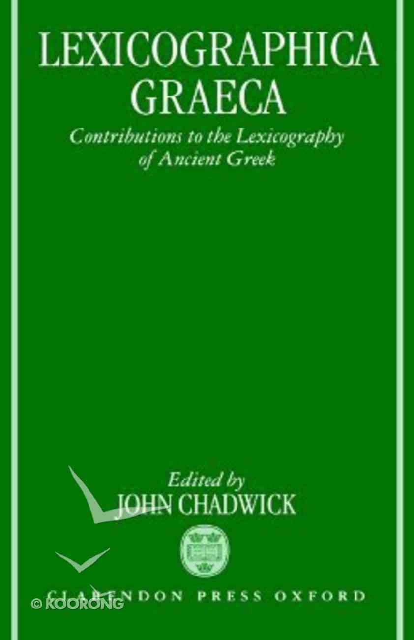 Lexicographica Graeca Hardback