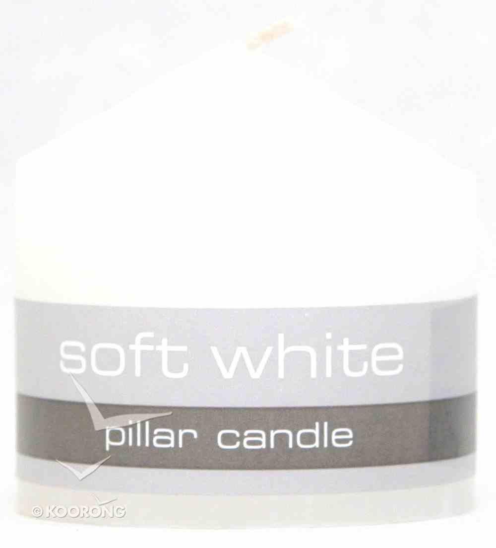 Powerlite Grain Finish Round Pillar Candle 64Mm/64Mm White Homeware