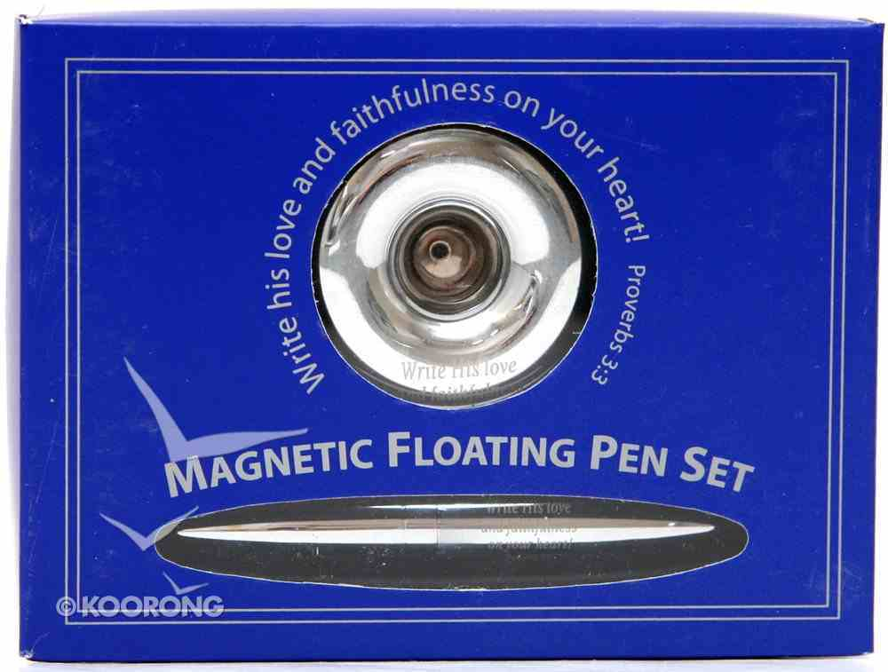 Magnetic Floating Pen Set Chrome Finish With Scripture Stationery