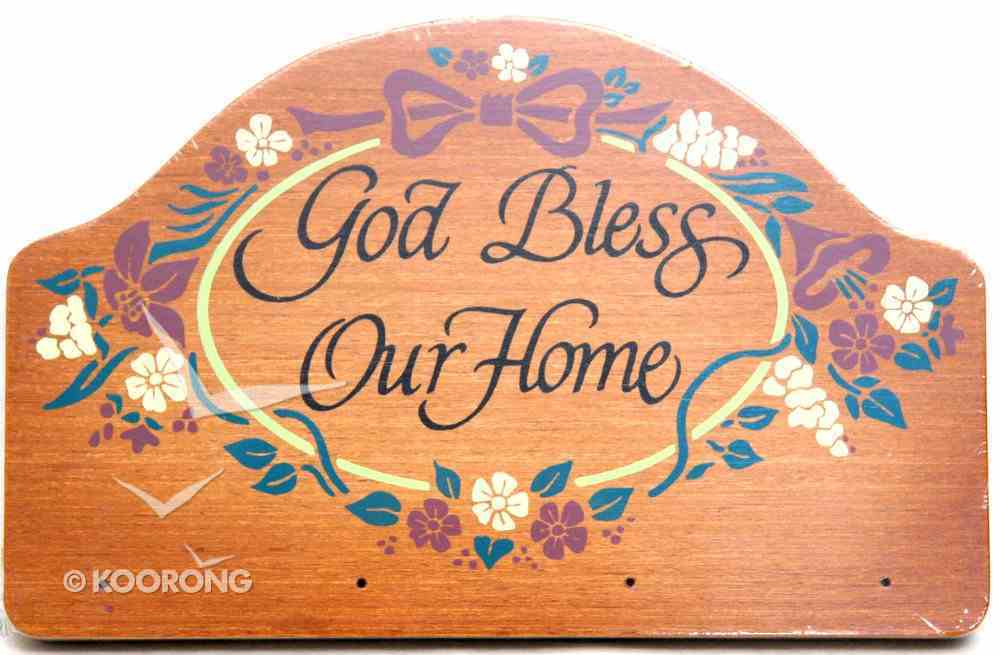 Teakwood Keyrack: God Bless Our Home (Red & Yellow Flowers) Plaque