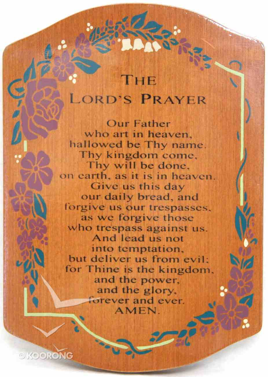Teakwood Plaque: The Lord's Prayer (With Red Flowers) Plaque